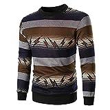 ➤ Loveso T-Shirts für Herren,Freizeit Sport Herren Longsleeve Blitzmuster Pullover Sweatshirt Fein Pullover Streetwear Männer Langarmshirts mit Rundhals und Streifen