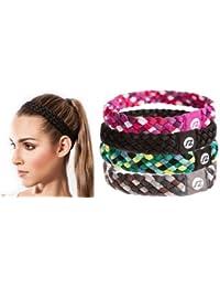 Cintas de pelo Sternitz - Trenzadas - Antiresbalante - Perfectas para Yoga - Pilates - Running. Headbands (Negro)