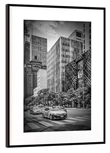 artboxONE Poster mit Rahmen Schwarz (Metallic) 45x30 cm Chicago North Michigan Avenue von Melanie Viola
