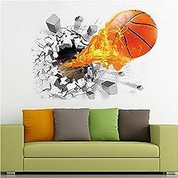 Asiv® Vuelo 3D Fuego Baloncesto Vinilo Removible Pegatinas Mural para la Decoración de la Habitación