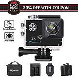 Tenswall Touchscreen 4K Action Cam, WiFi Sports Camera 16MP Ultra Full HD Unterwasserkamera EIS Helmkamera Wasserdicht mit 2 Verbesserten Batterien Transporttasche und Kostenlose Accessoires