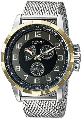 August Steiner Men's AS8202SSB Yellow Gold Multifunction Quartz Watch with
