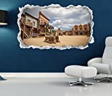 3D Wandtattoo Western Saloon Prärie Cowboy Haus Indianer Wand Aufkleber Wanddurchbruch sticker selbstklebend Wandbild Wandsticker Wohnzimmer 11P626, Wandbild Größe F:ca. 97cmx57cm