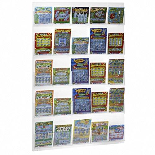 Avà srl espositore schedine e gratta e vinci da parete in plexiglass trasparente a 25 tasche - misure: 57 x h85 cm