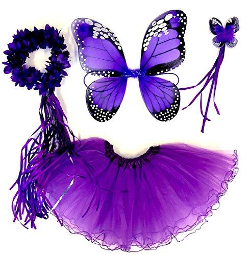 erling Kostüm für Mädchen - 4-teiliges Set - Feenflügel / Schmetterlingsflügel Verkleiden - Monarchfalter Lila ()