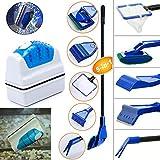 Geenber Aquariumreinigungs-Set, magnetischer Glasreiniger und Algenschaber, 5-in-1-Design
