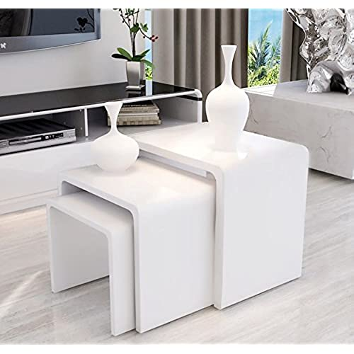 UEnjoy Nest Of Tables White Gloss Coffee Table Side Table Living Room