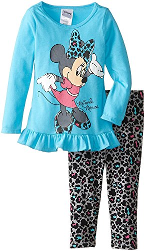 Disney Girls' Minnie Mouse Two-Piece Print Long-Sleeve Tunic and Legging Set Disney