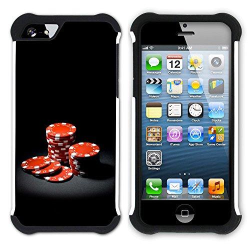 Graphic4You Poker Spielkarten Jetons Hart + Weiche Kratzfeste Hülle Case Schale Tasche Schutzhülle für Apple iPhone SE / 5 / 5S Design #8