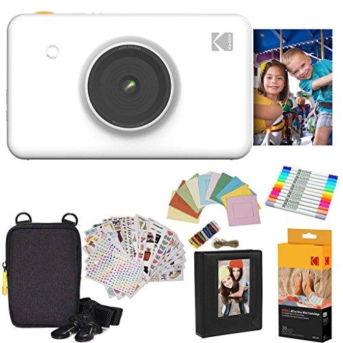 Kodak: Paquete de Regalo de cámara instantánea Mini (Blanco) + Papel (20 Hojas) + Funda 7 Juegos de Pegatinas Divertidas + rotuladores de Doble Punta + álbum de Fotos + Marcos para Colgar.