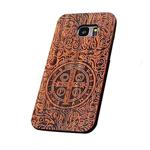 Forepin® Vero Legno Legna Wood Cover Caso Con Plastica Telaio Custodia Protezione Copertura per Samsung Galaxy S7