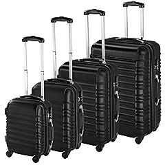 Idea Regalo - TecTake Set di 4 valigie ABS rigido trolley valigia bagaglio a mano borsa elegante - disponibile in diversi colori - (Nero | no. 402024)