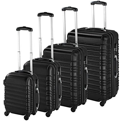 TecTake Set di 4 valigie ABS rigido trolley valigia bagaglio a mano borsa elegante - disponibile in diversi colori - (Nero | no. 402024)