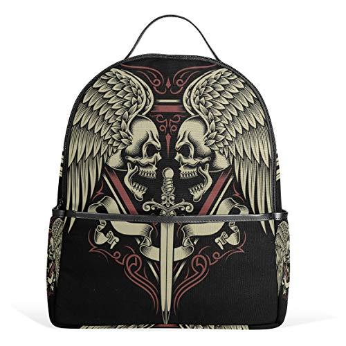 ISAOA Schulrucksack, Unisex, Laptoprucksack, zweiseitiger Totenkopf mit Flügeln und Schwert Fashion College Bag Reiserucksack Tablet Taschen für Kinder Jungen Mädchen Erwachsene -