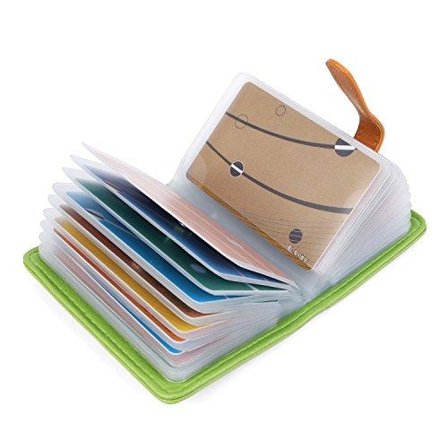 fa8048a609d7e7 10 Colori Porta Carte di Credito Pelle per Donna Uomo - 26 Slot (Verde)