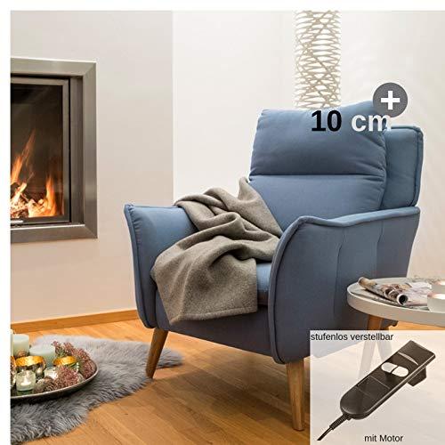 place to be hochwertiger XXL Relaxsessel für große Personen - einfach elektrisch ausklappbar, Eiche - Salbei