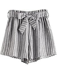 DIDK Femme Rayé Pantalons Décontractée Shorts Dentelle avec Un Lacet Shorts  Taille Élastique ... 50ff121f228