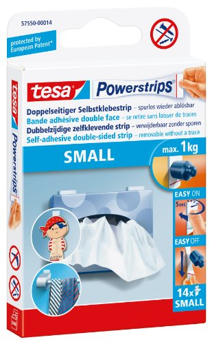 tesa Powerstrips Strips SMALL für max. 1kg, Packung mit 14 Strips (Power-strip-pack)