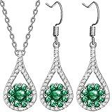 Dawanza-Cadeau Femme Bijoux Parure Femme Cristal Vert Émeraude en Plaqué Or...