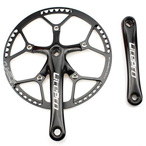 Single Speed Crankset Set 58T 170mm Crankarms 130 BCD Litepro Folding Bike Crankset with Protective Cover for Single Speed Bike, Track Road Bicycle, Fixed Gear, Fixie, Dahon (Square Taper, Black)