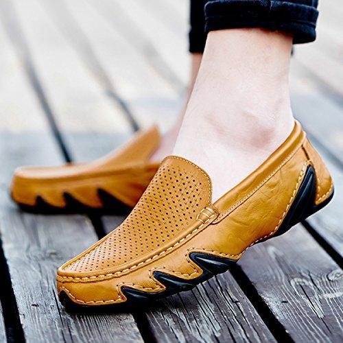 Été Hommes Chaussures Casual Chaussures Hommes Confortable Et Respirant Stylé Chaussures Brownopenwork