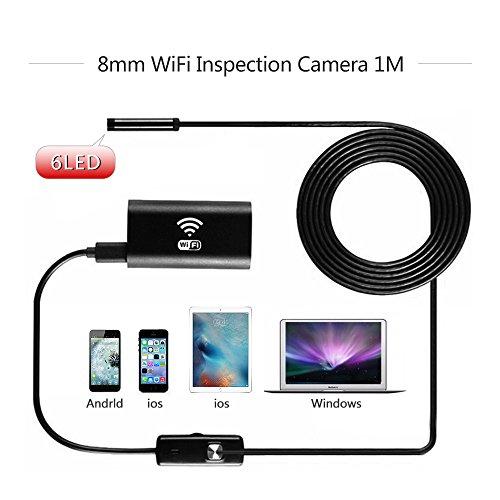 Preisvergleich Produktbild Wireless Endoskop, Cymall HD720P 8mm Objektiv WIFI Endoskop Kamera 5M / 3.5M / 1M 6LED Wasserdichte Schlange Tube Inspektion Borescope USB Iphone Android Borescope IOS Tablet Wireless Borescope Kamera (1M)