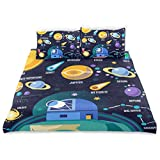 ISAOA Universe Infografiken Solarsystem Planeten Kristall Samt Set Set 167,64 x 228,6 cm Bettwäsche-Set Fashion Stil Steppdecke Bettbezug 3-teilig Bettbezug für Kinder
