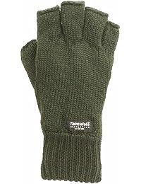 SSP mens fingerless gloves thinsulate green olive black camo fishing fleece lined