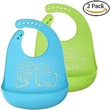 Baberos del bebé, BeYself 2 Pack Silicona Impermeable bebé baberos fácilmente limpia Limpie Silicona Alimentación baberos - cómodo suave impermeable bebés mantienen manchas fuera - Azul&Verde