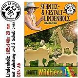 KIDS AT WORK SCHNITZHOLZ LINDENHOLZBLOCK A6 105x148x20mm WILDTIERE 1