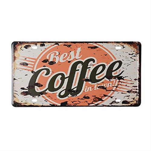K&C Bester Kaffee in der Stadt Dekorative Zeichen Blech Metall Eisen Zeichen Malerei Für Wand Home Office Bar Coffee Shop (Dekorative Home-zeichen)