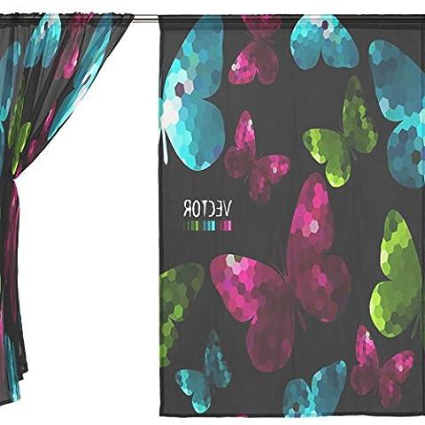 jstel 2Stück Tüll Voile Fenster Zimmer Dekoration Semi Sheer Vorhang, Bling Light Rot Butterfly, Gaze Vorhänge Wohnzimmer Schlafzimmer Krawatte Top Vorhang 139,7x 198,1cm Zwei scheibenelementen Set, Polyester, blau, 55x84x2(in)
