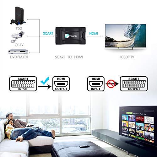 51Z mup0vtL - SCART a HDMI Convertidor,PORTHOLIC Euroconector a HDMI Adaptador 1080P SCART 2 HDMI Adaptador Entrada Scart Salida HDMI para HDTV,DVD BLU-Ray,Monitor,Proyector,STB,VHS,PS1,PS2,Xbox,Wii