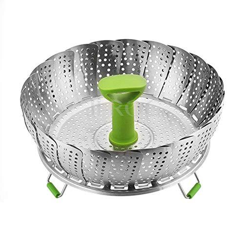 Homeyoo vegetale cestello per cottura a vapore, per pieghevole e multifunzione vapore vegetale pieghevole utensile, con maniglia telescopico estensibile sano di cottura (verde, diametro medio: 18 cm)