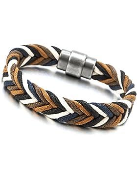 Segeln Marine Weiß Braun Geflochten Baumwoll Seil Armband für Herren Damen Armreif mit Magnetverschluss