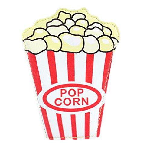 dylandy Münzfach Tasche Bag Wasserdichte Mini-Geldbörse Reißverschluss Cartoon Frauen Mädchen Cash Aufbewahrungstasche Halter für Schlüssel Headset ID Card Lippenstift (Donuts) 11 * 15cm Popcorn