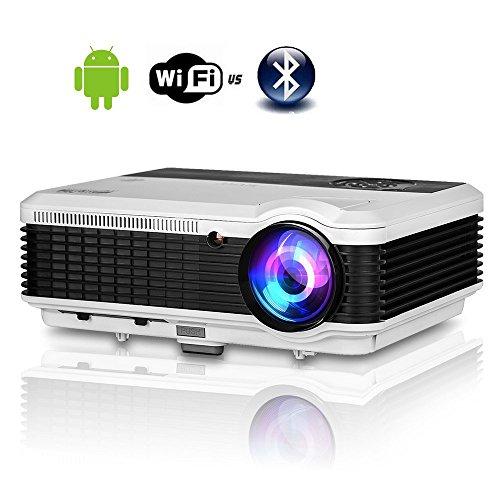 WiFi Beamer Bluetooth Android 4.4.4 HD Videoprojektor 3600 Lumen LED 4500:1 Kontrast Unterstützt 1080P HDMI VGA AV USB Heimkino Projektor für PC Smartphone TV Laptop Videospiele Telefon iPad DVD player