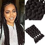 YMHPRIDE 5 pezzi treccia estensioni dei capelli sintetici Kanekalon Jumbo trecce capelli nero chiaro 24 pollici(61 cm)