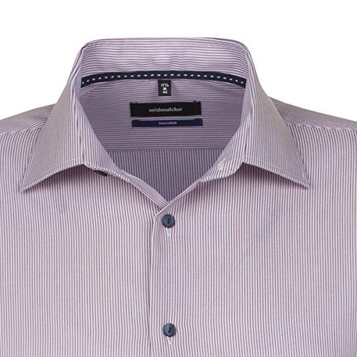 Seidensticker Herren Businesshemd Tailored Langarm hellblau gestreift mit Kent-Kragen orange (0067)