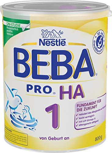Nestlé BEBA PRO HA 1 Anfangsnahrung, hypoallergene Säuglings-Nahrung, von Geburt an, sättigend, 1 x 800g Dose -