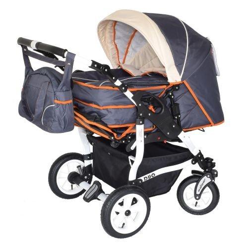 Adbor Duo 3in1 Zwillingskinderwagen mit Babyschalen - weißes Gestell, Zwillingswagen, Zwillingsbuggy Farbe Nr. 15w graphit/beige/orange