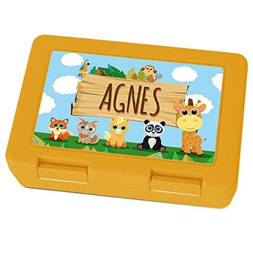 Brotdose mit Namen Agnes - Motiv Zoo, Lunchbox mit Namen, Brotdose Gelb - Frühstücksdose Kunststoff lebensmittelecht