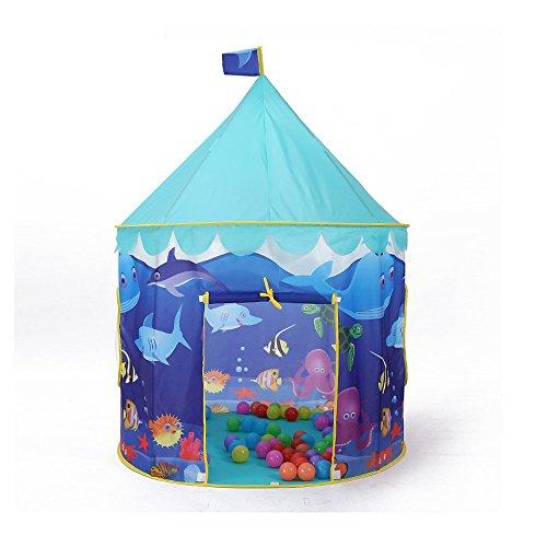 Wadwo Tente de Juego de los niños Blue Ocean patrón de Dibujos Animados Round Yurts Interior y al Aire Libre Tiendas de Juguetes (sólo una Tienda) -by Virtper