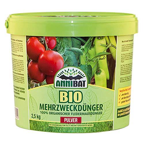 AnniBat Bio Dünger Pulver | 100% biologischer Organischer Dünger Guano für Obst, Gemüse und Zierpflanzen Top geeignet | Universaldünger für Profis | 2,5 Kg Langzeit Dünger (Pulver Dünger)