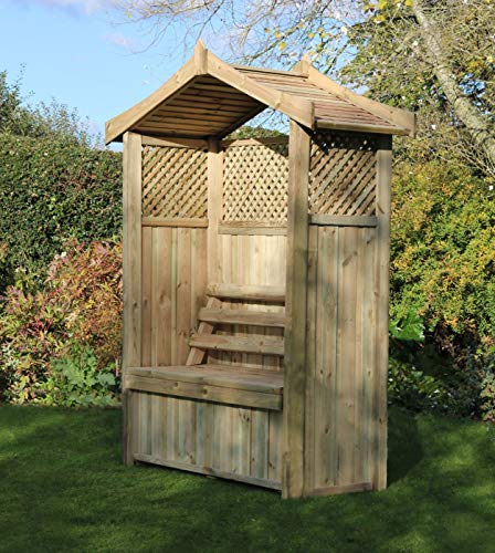 Barcelona Garden Arbour Seat Pergola Trellis Wood Arch Bench Corner Storage Patio Furniture - 10 year warranty against rot