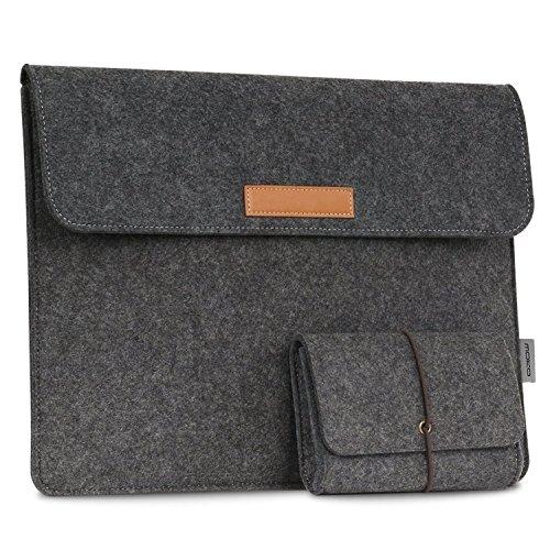 "MoKo 10-11\"" Tragbare Filz Schutzhülle Tasche für All-New Amazon Fire HD 10 Tablet, Felt Schutztasche Cover für Fire HD 10,1 Zoll Tablet 2017/2015 Modell, mit Kleine Power Bank Tasche - Dunkelgrau"