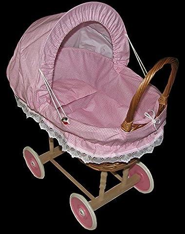 Doll Wicker Buggy/Pram / Dolls Buggy/ Pram/ Stroller /toy (Pink Check)