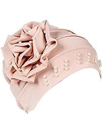 Gusspower Sombrero Musulmana Mujer,Mujeres Artificial Perla Tturbante Mujer Panuelos Cancer Sombrero Pérdida de Cabello Cáncer Cabeza Pañuelos Quimioterapia Gorro