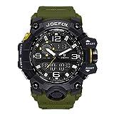 Joefox Homme Sport étanche 5M Montres numérique multifonction analogique et montre à quartz poignet avec chronomètre hommes Loisirs Double écran LED lumière Shock Resistant Green Montre Bracelet