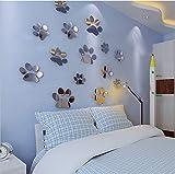 10 x abnehmbare Spiegel-Wandaufkleber, 3D-Hundepfotenabdruck-Spiegel-Dekoration, Acryl-Spiegel-Wand-Platte, Kunststoff-Fliesen für Zuhause, Wohnzimmer, Schlafzimmer, Sofa, TV, Wand-Deckendekoration.